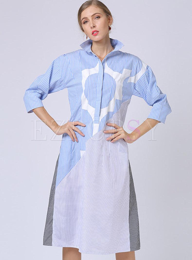 Brief Lapel Color-blocked Striped Split T-shirt Dress