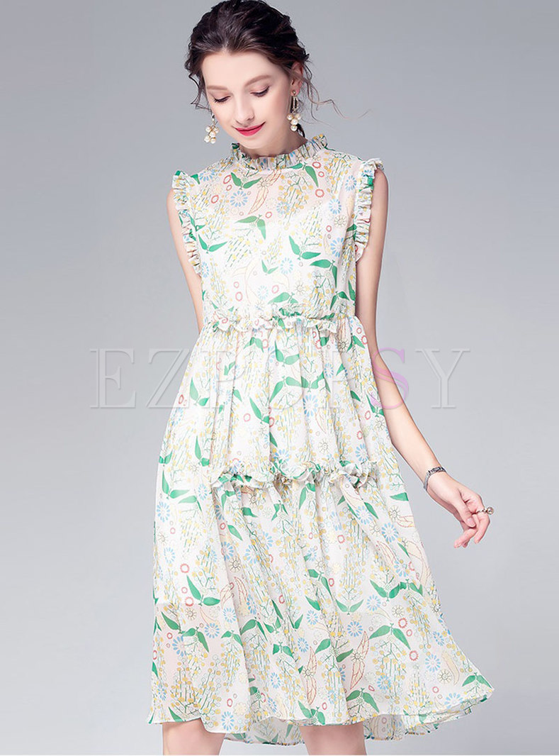 Print Ruffled Collar Sleeveless Falbala Dress With Cami