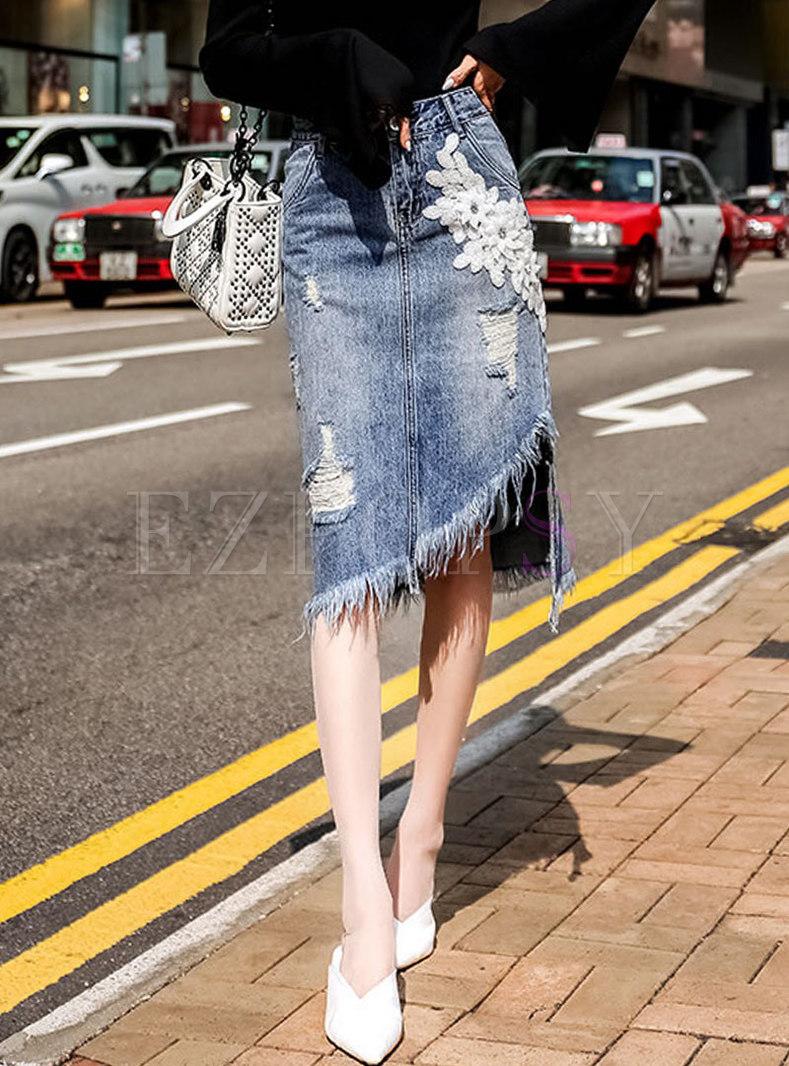 Denim High Waist Patchwork Asymmetric Tassel Skirt