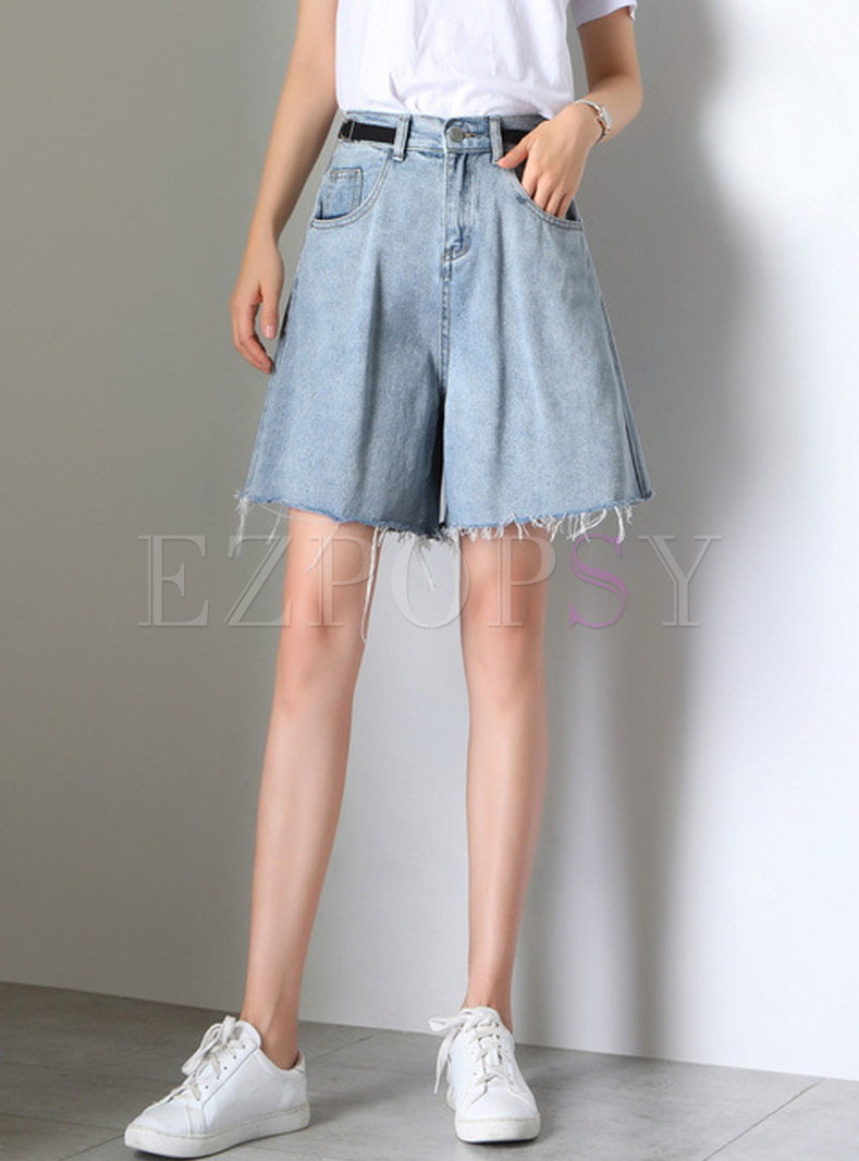 Brief High Waist Denim Rough Selvedge Wide Leg Shorts