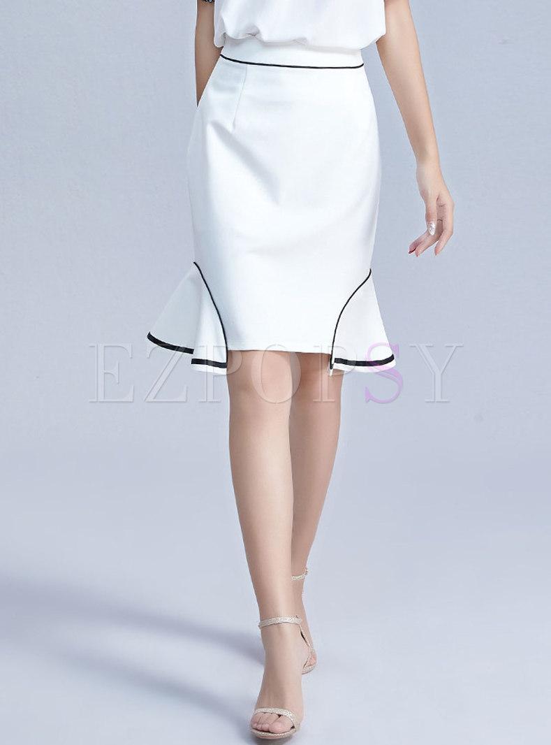 Brief White Irregular Falbala Slim Mermaid Sheath Skirt