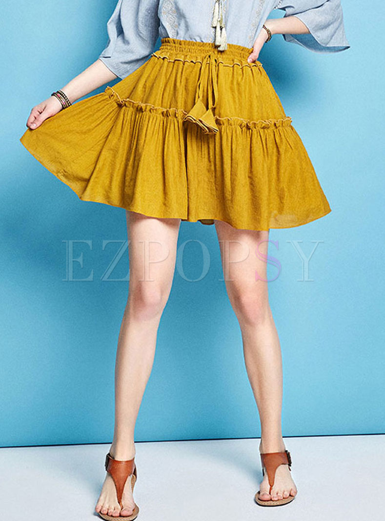 Elastic High Waist Tassel Pleated A Line Skirt