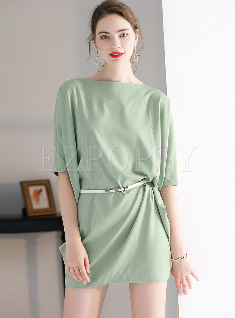 Chic O-neck Half Sleeve Belted Bodycon Dress