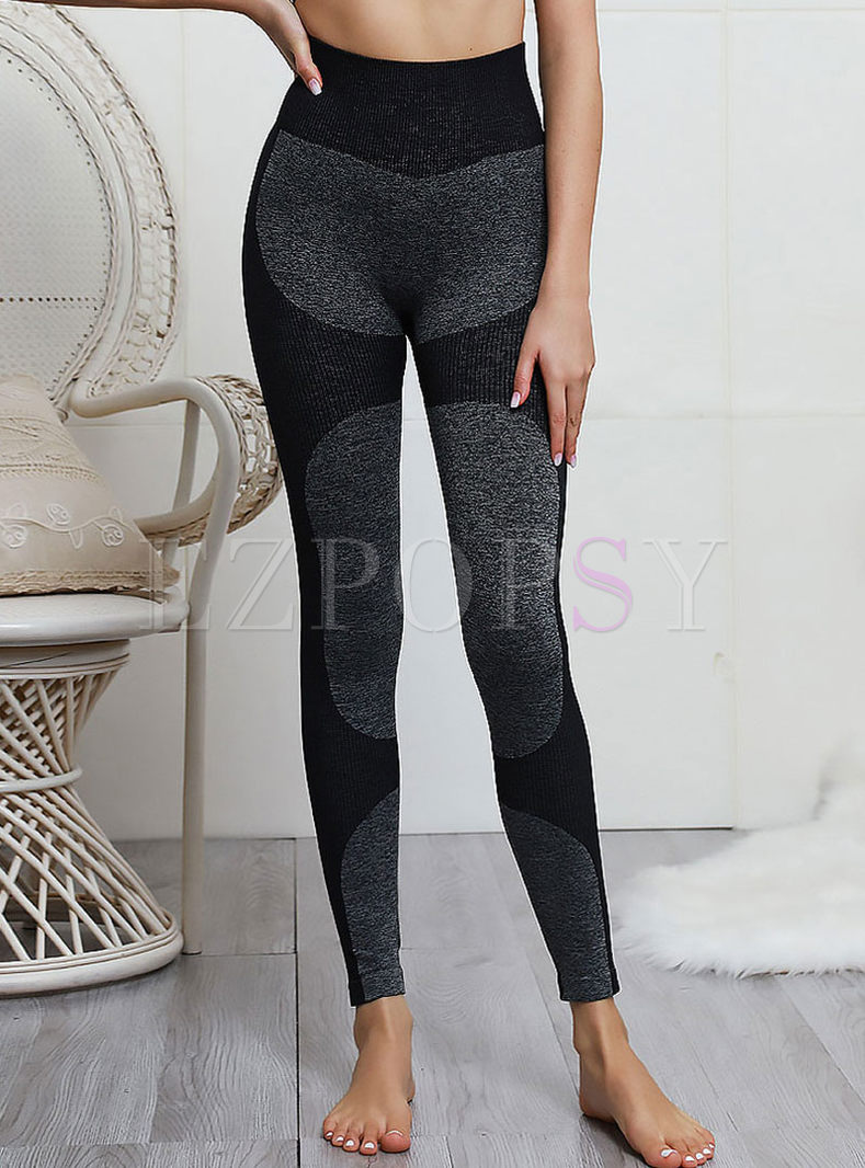 Color-blocked High Waist Knitted Slim Pants