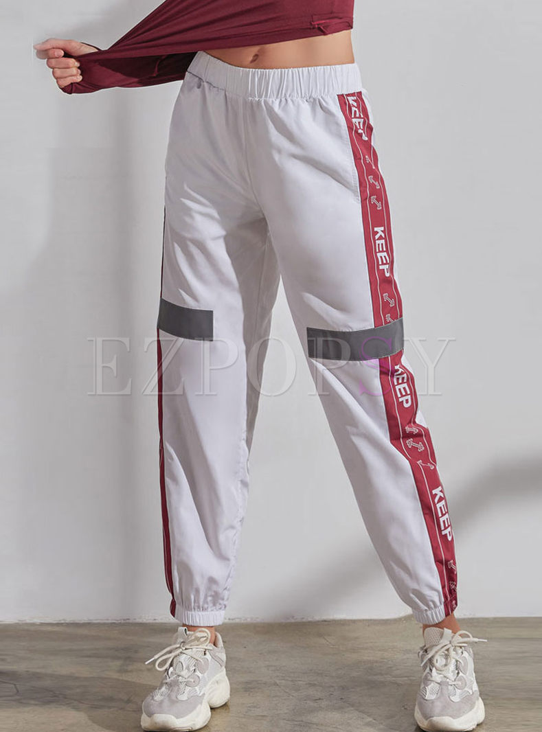 Casual Elastic Waist Letter Print Sports Pants