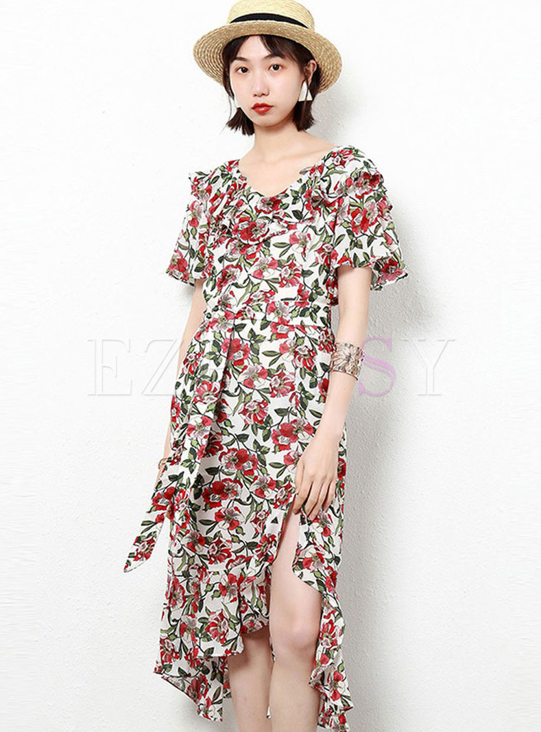 V-neck Flare Sleeve Print Chiffon Slit Dress