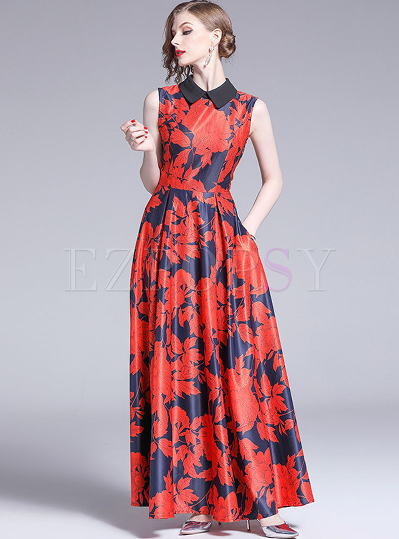 Stylish High Waist Sleeveless Party Maxi Dress