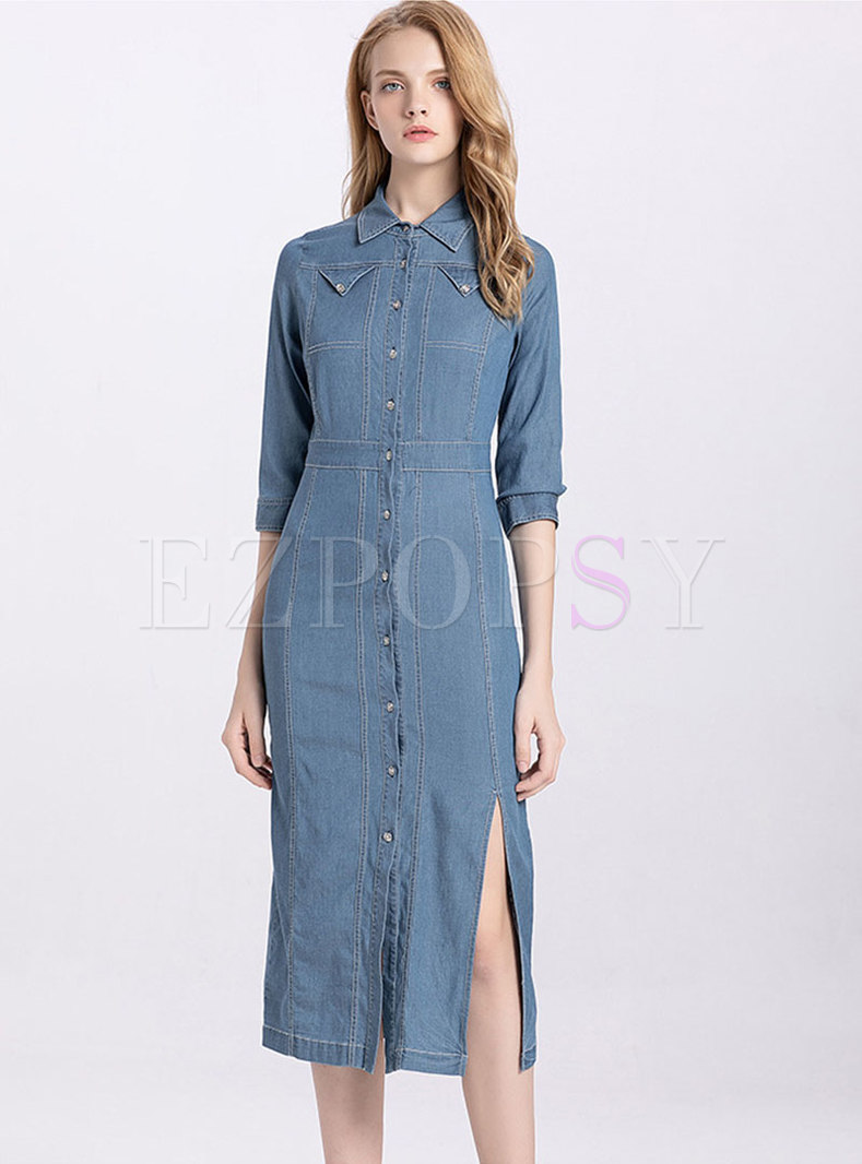 Denim Lapel Single-breasted Slit Sheath Dress