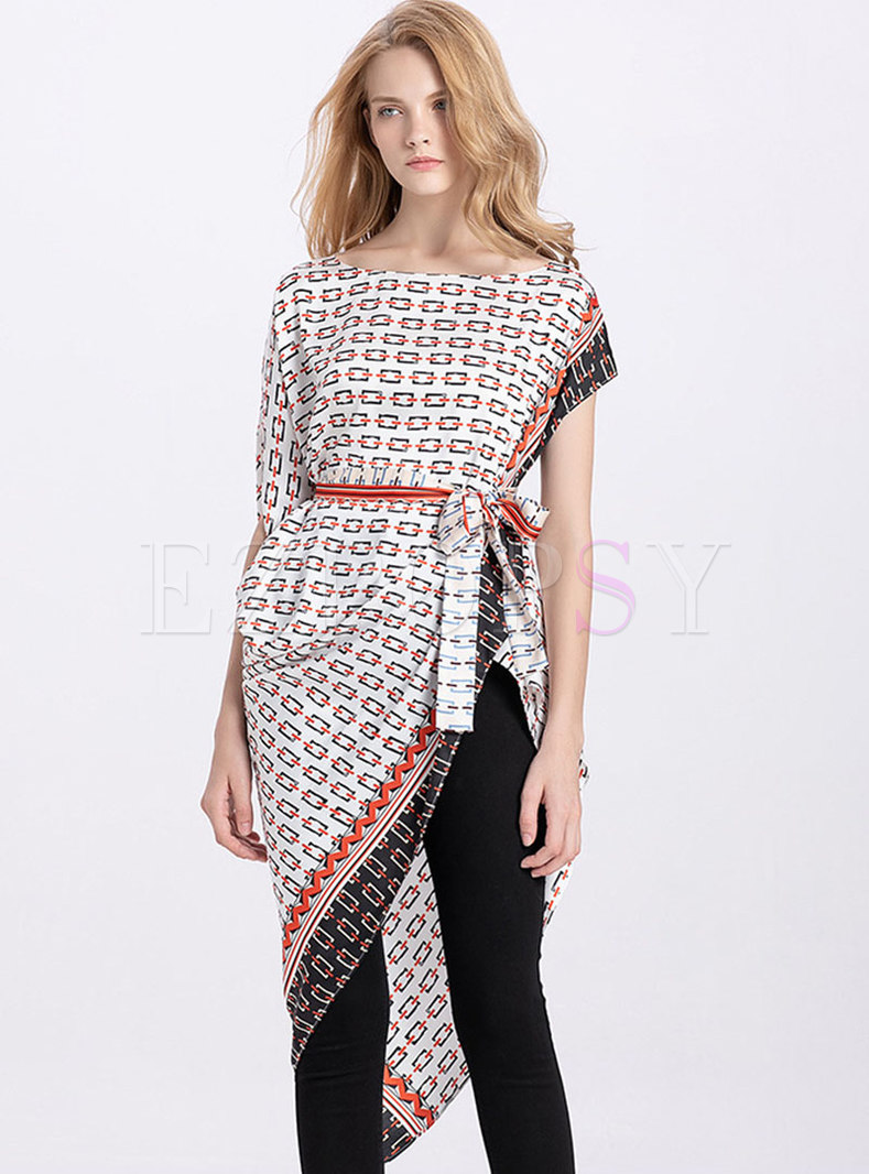 Chic Print O-neck Belted Asymmetric Top