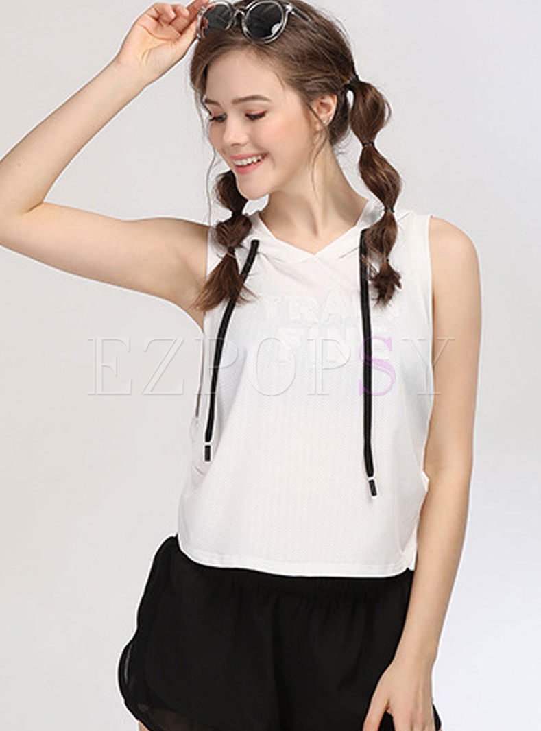 Casual Hooded Sleeveless Short Sports top