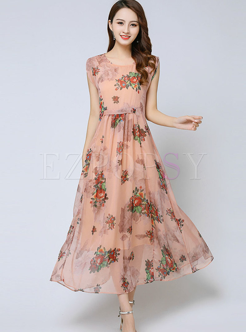 Stylish Plus-size Print Chiffon Slim Maxi Dress