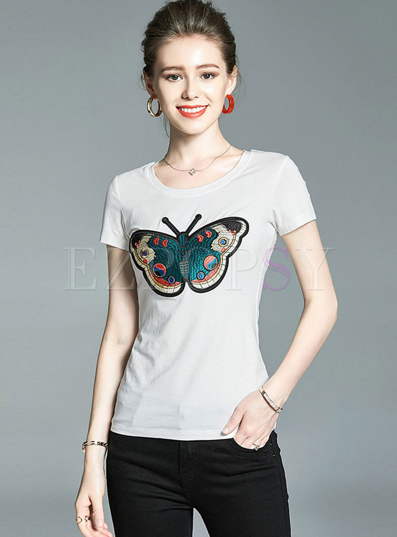 Brief Pullover Butterfly Embroidered T-shirt