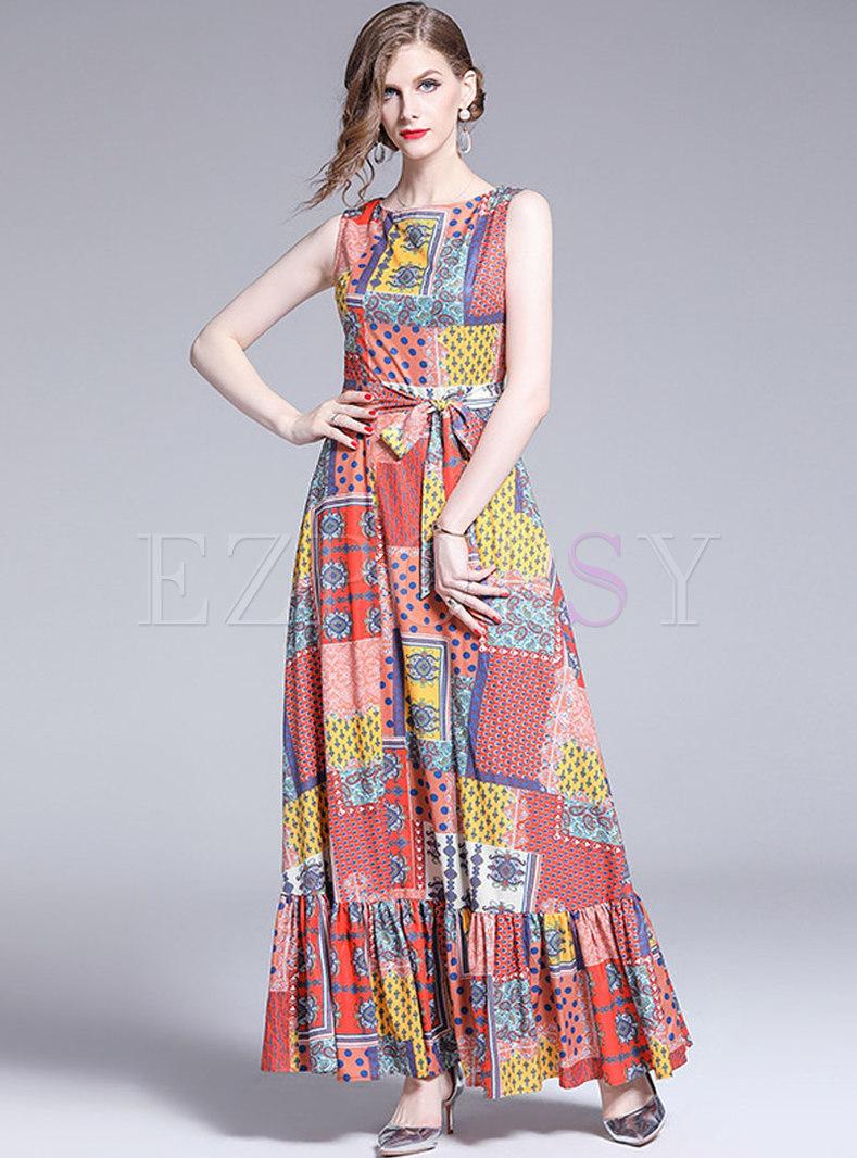 Stylish O-neck Tied Plaid Polka Dot Beach Maxi Dress