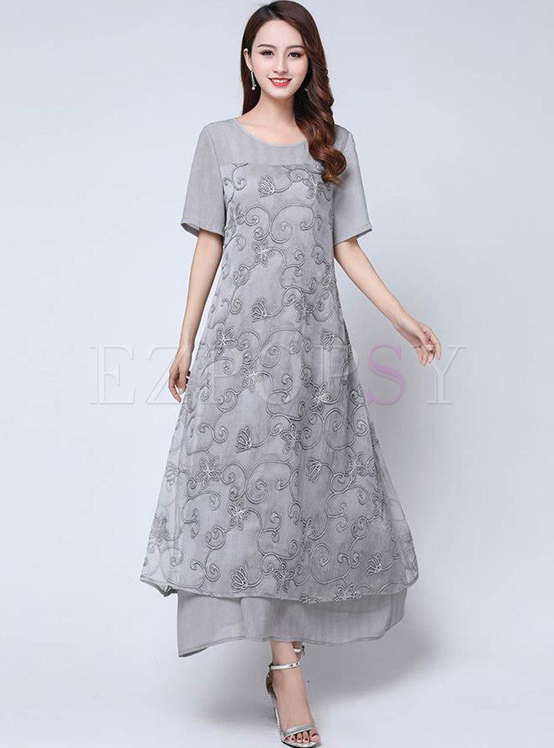 Solid Color Chiffon Plus-size Short Sleeve Maxi Dress