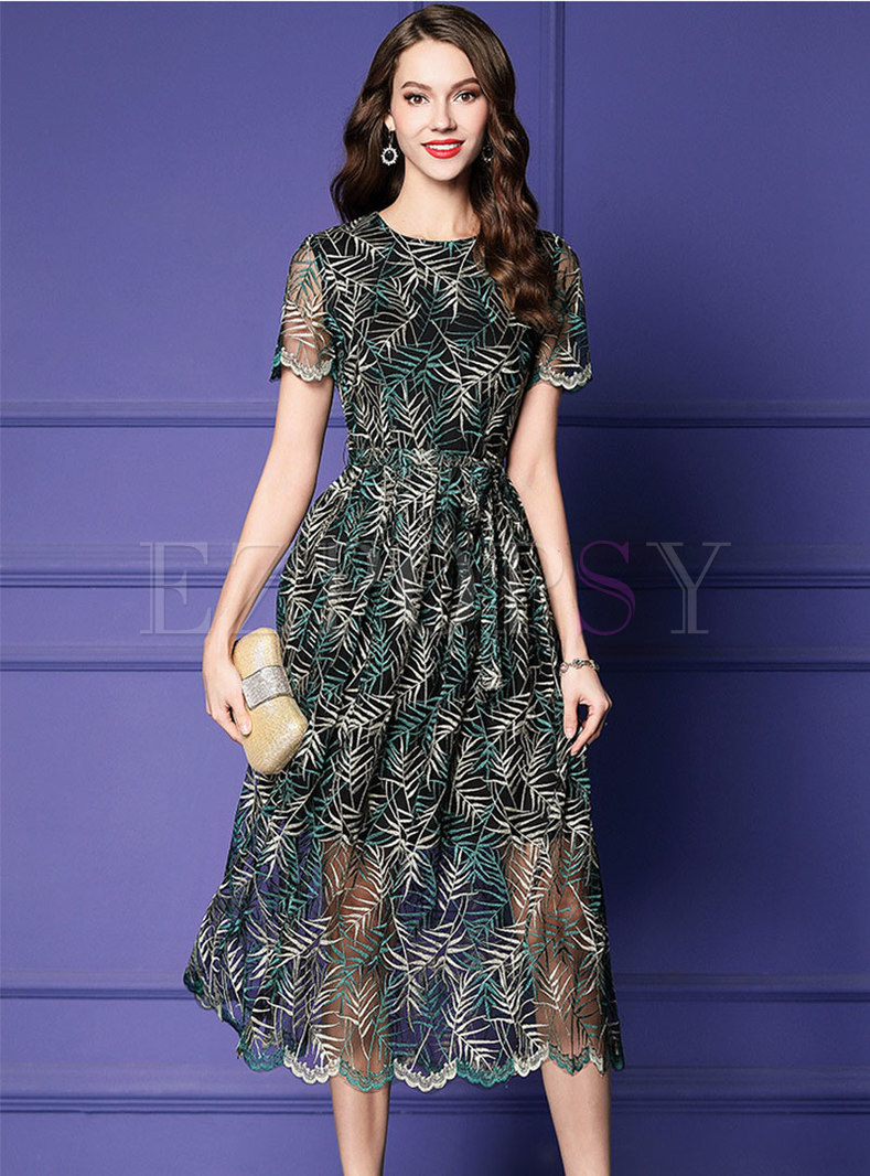 Elegant Embroidered O-neck High Waist A Line Dress