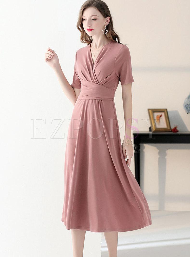 Pure Color V-neck Gathered Waist Slim Dress