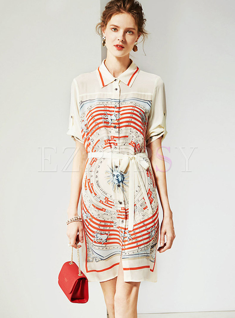 Trendy Abstract Print Single-breasted Silk Skater Dress