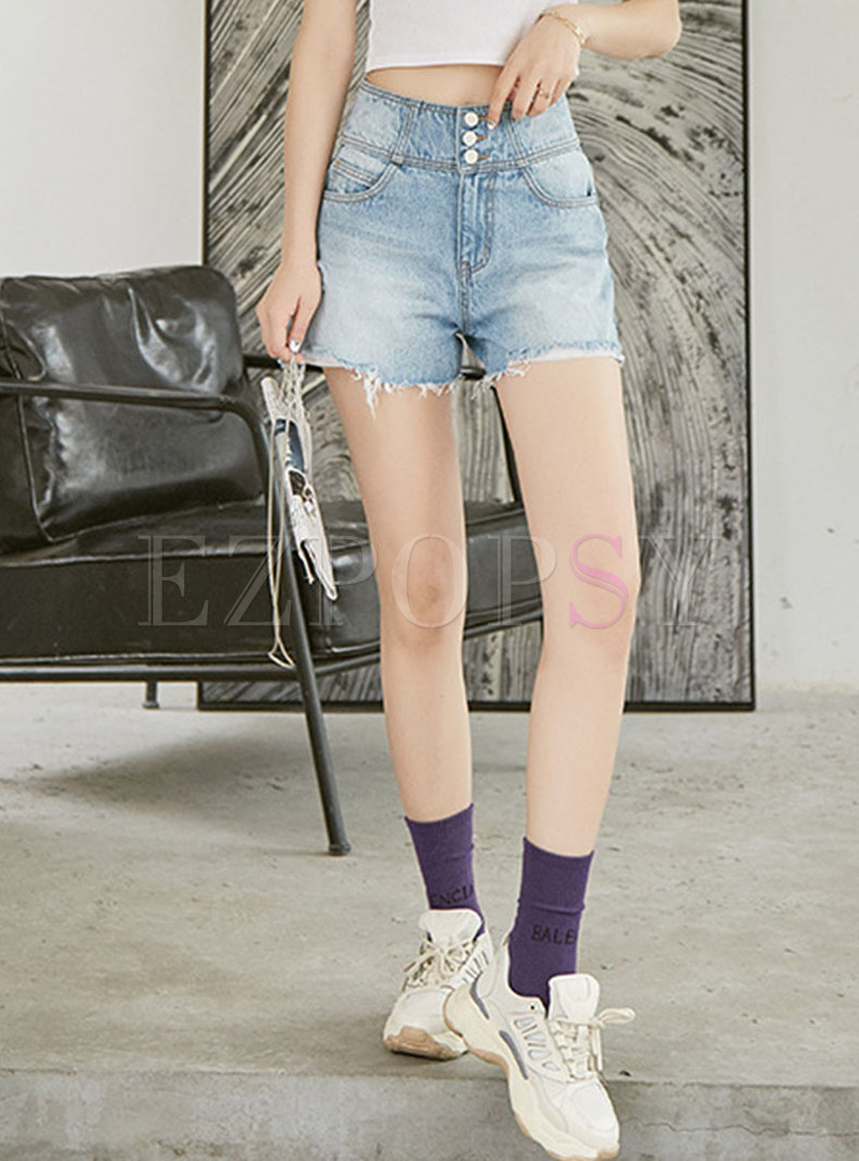 Stylish Denim High Waist Slim Shorts