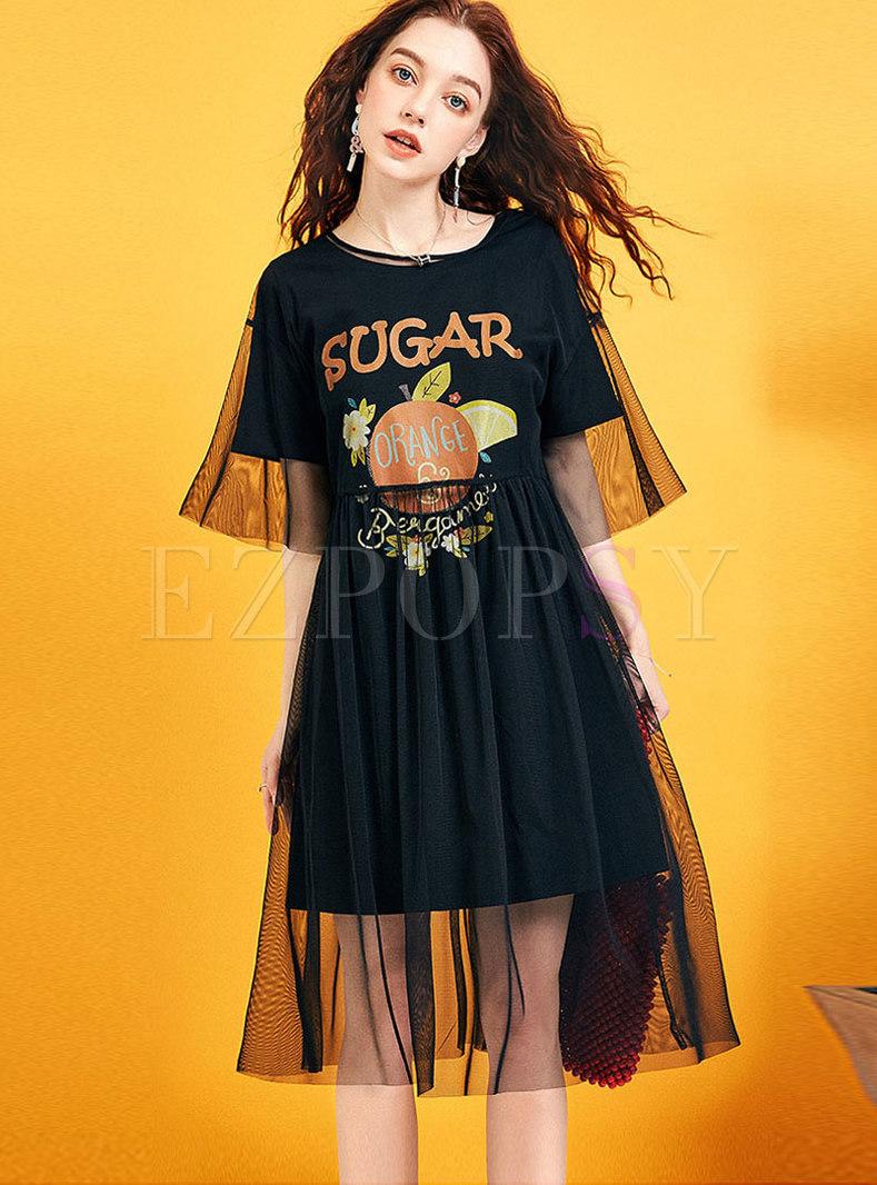 Casual O-neck Print Loose T-shirt Dress With Mesh Smock