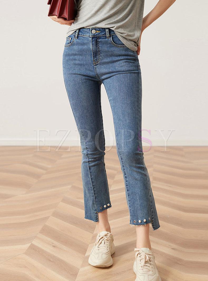 Stylish Blue Irregular Selvage Beaded Flare Jeans