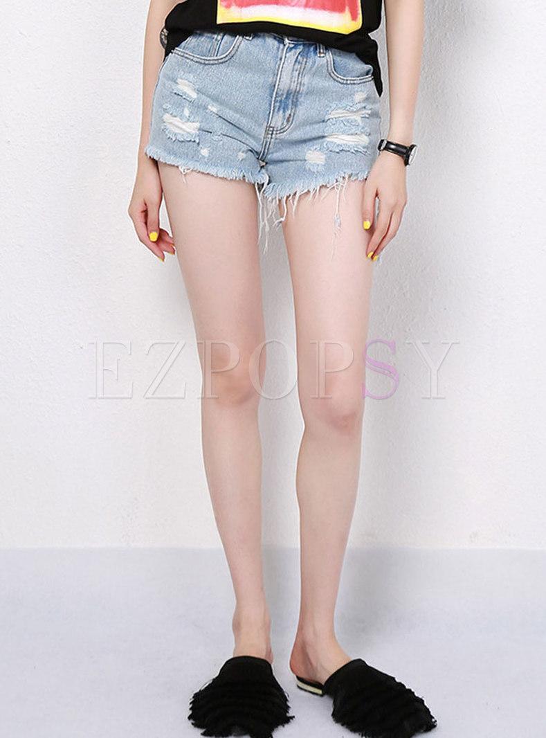 Fashion High Waist Holes Rough Selvage Shorts