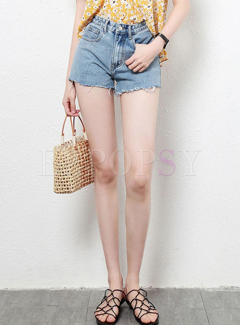 Summer Daily High Waist Rough Selvage Denim Shorts