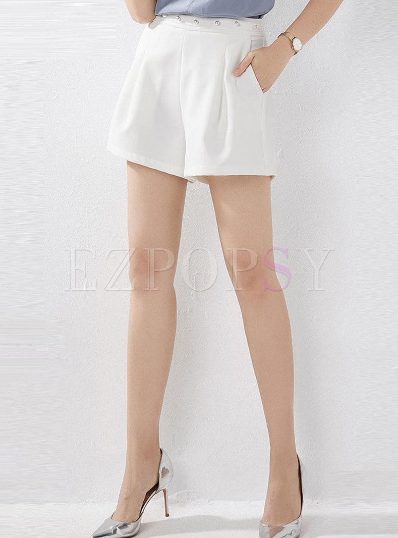 Casual White Beaded High Waist Wide Leg Shorts