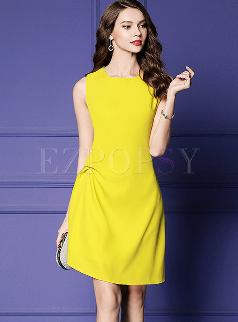 Chic O-neck Sleeveless Asymmetric Bodycon Dress