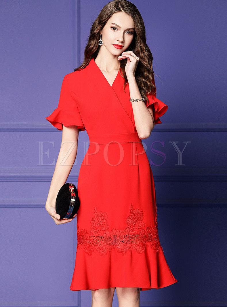 V-neck Embroidered Flare Sleeve Sheath Mermaid Dress