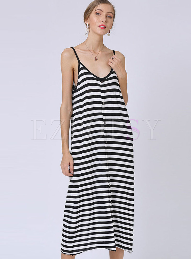 Sexy V-neck Plus Size Stripe Knitted Sling Dress