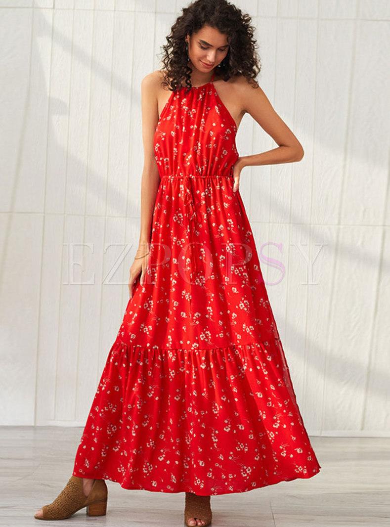 Sexy Halter Backless Sleeveless Print Dress
