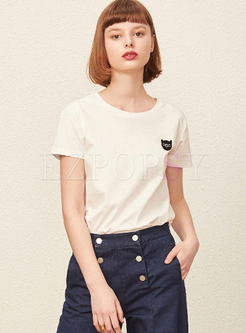 Brief White Pig Patchwork Cotton T-shirt