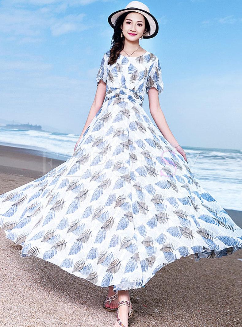 Bohemia Print O-neck High Waist Hem Maxi Dress