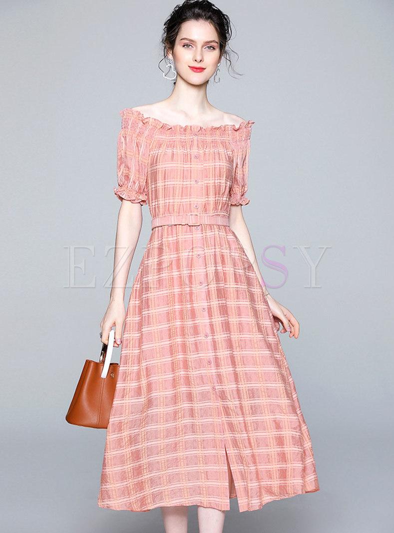 Plaid Slash Neck Belted A Line Dress