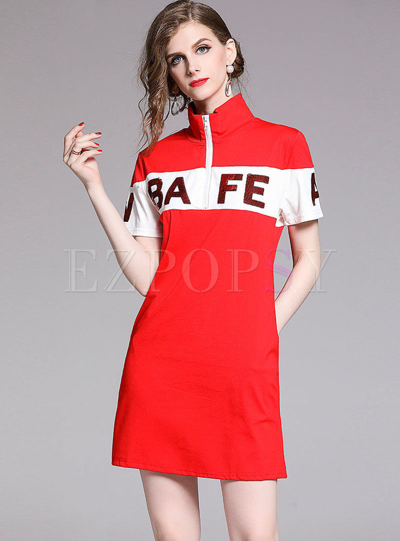 Stylish Stand Collar Letter Embroidered T-shirt Dress