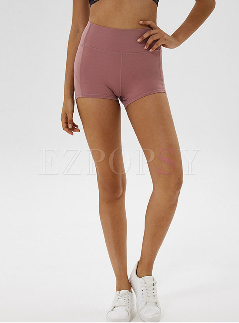 Summer High Waist Pure Color Tight Shorts