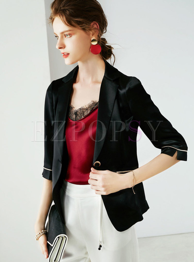 Elegant Black Lapel All-matched Slim Blazer