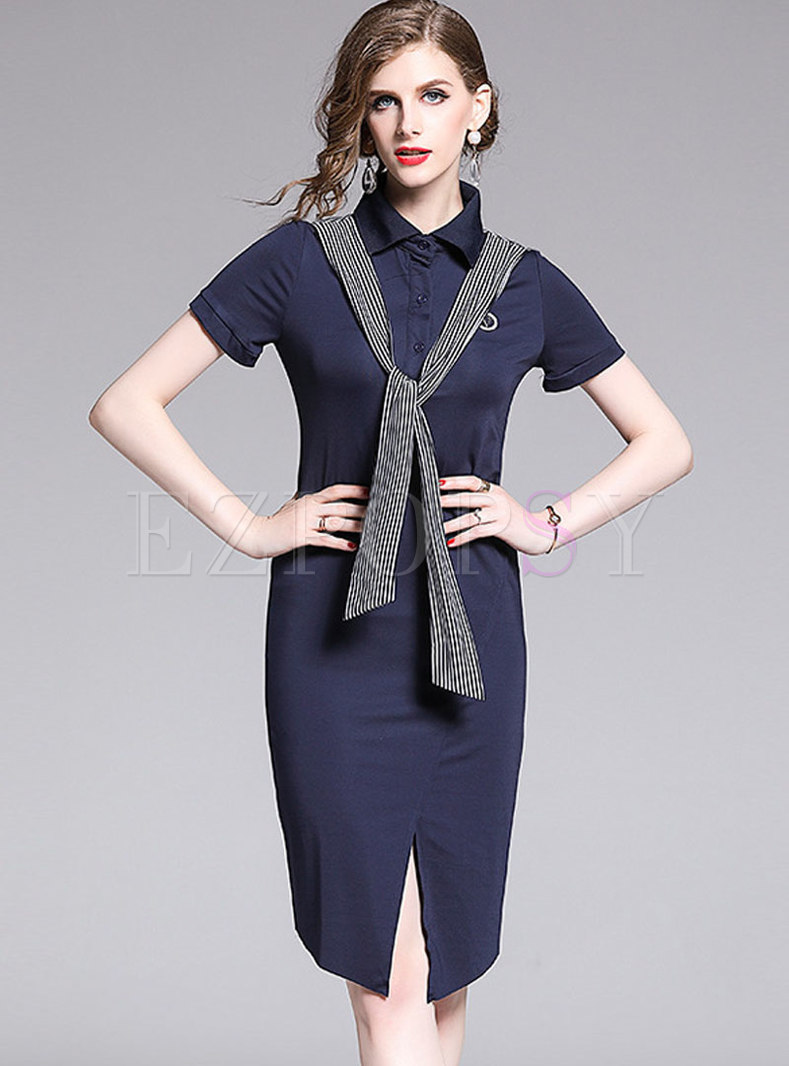 Solid Color Embroidered Striped Tied Split Bodycon Dress