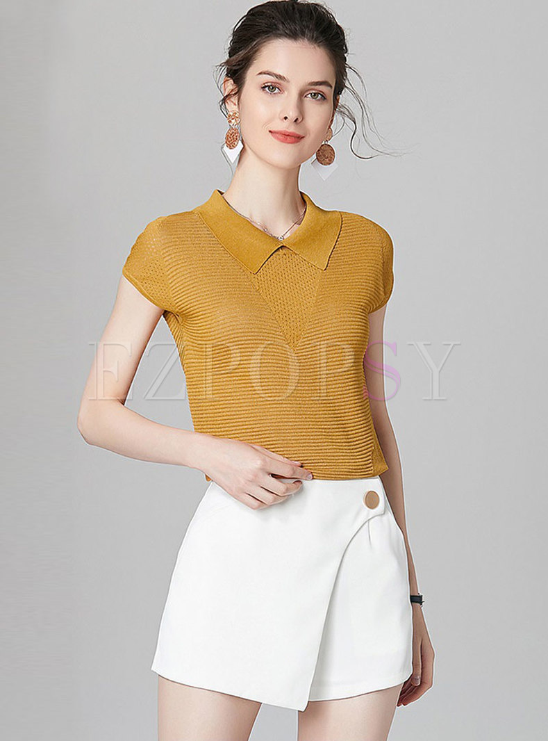 Brief Lapel Knitted Top & Casual Pure Color Shorts