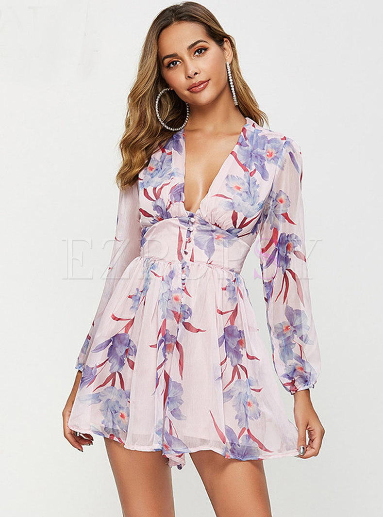 Chic Print Deep V-neck High Waist Rompers