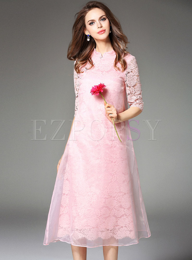 Solid Color Lace Stand Collar Slim Skater Dress
