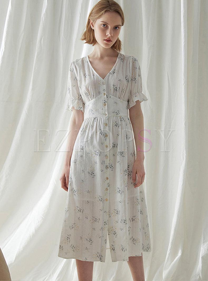 Floral V-neck Flare Sleeve Single-breasted Skater Dress