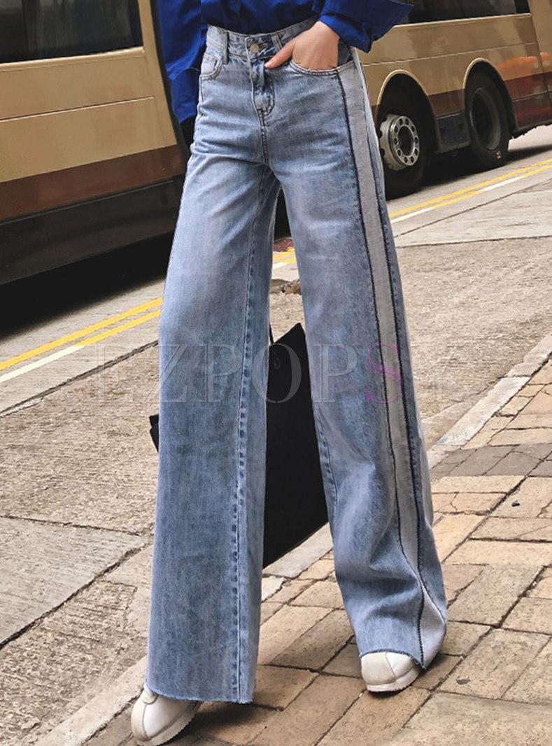 Denim Splicing High Waisted Wide Leg Pants