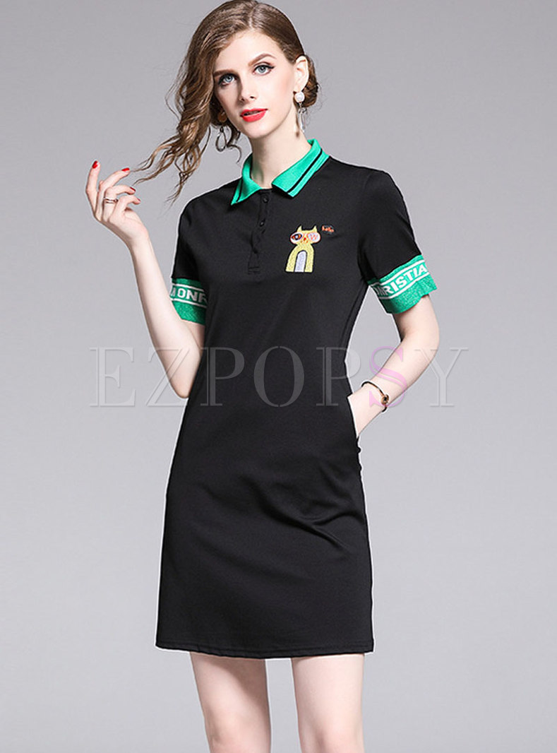Casual All-matched Color-blocked Embroidered T-shirt Dress