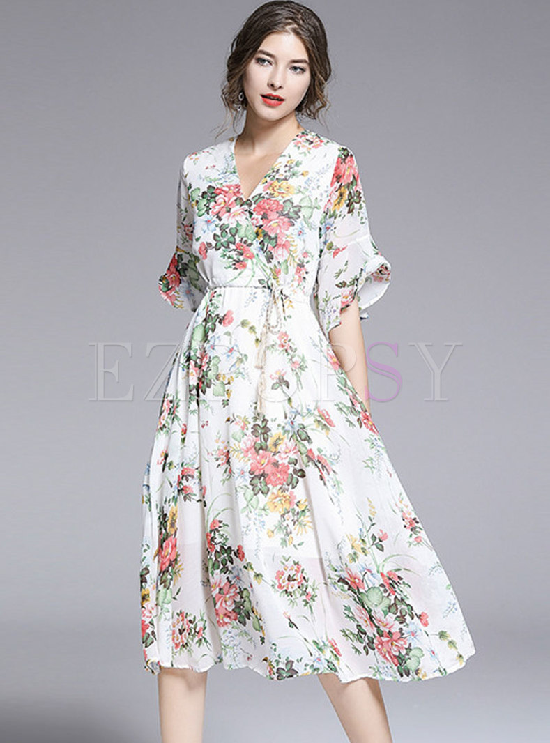 Fashion V-neck Print Big Hem Chiffon Skater Dress