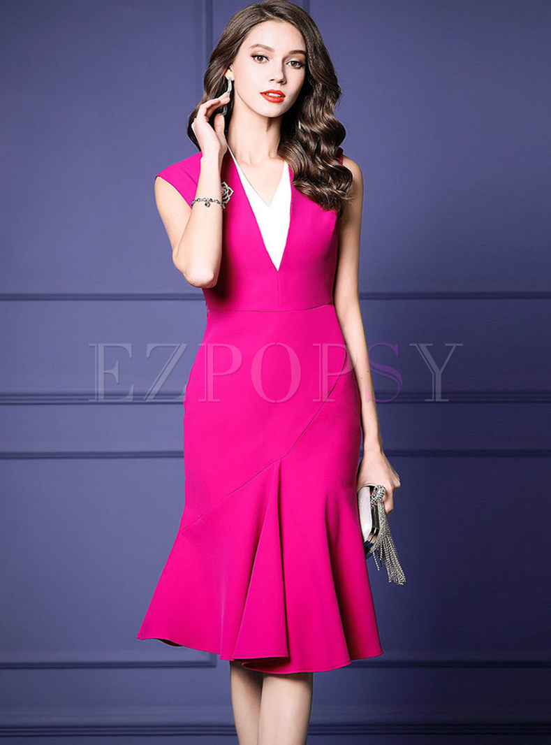 Chic V-neck Sleeveless High Waist Mermaid Dress