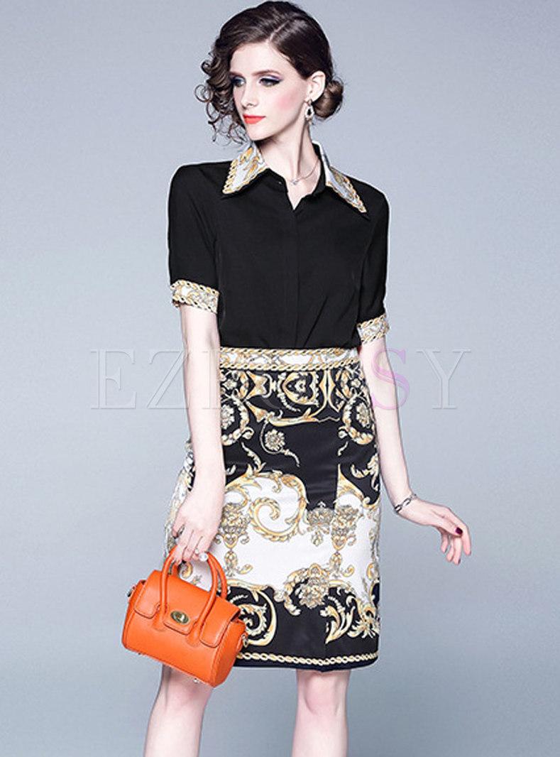Chic Lapel Splicing Top & Print Sheath Skirt