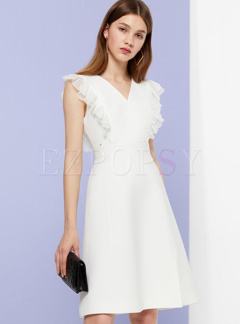 Lace Splicing V-neck High Waist Slit Skater Dress