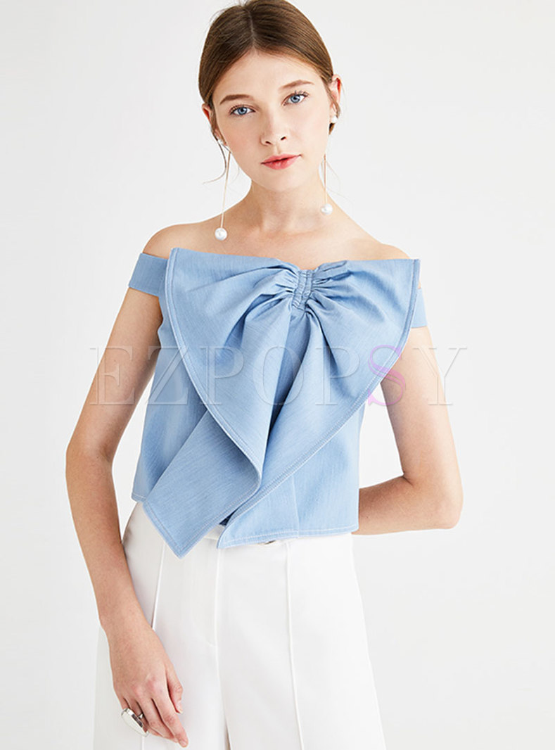 Chic Slash Neck Bowknot Slim Top