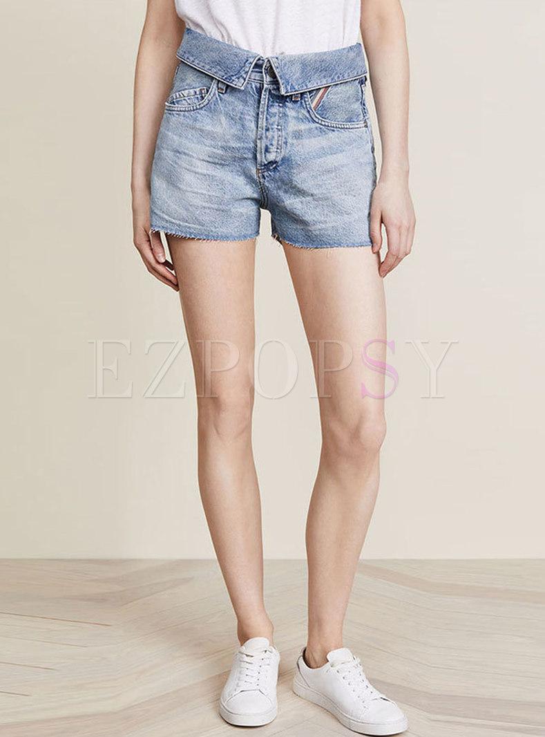 Chic Summer Denim Rough Selvedge Casual Wide Leg Shorts